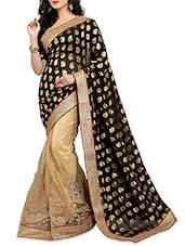 Black And Beige  Brasso Work Viscose Net Saree - By