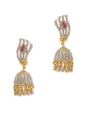 Gold Plated Pair Of Jhumki Earrings Decorated With Shiny CZ And Pink Color Stone - Voylla