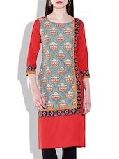Multicolor Rayon, Poly Crepe Printed Kurta - By