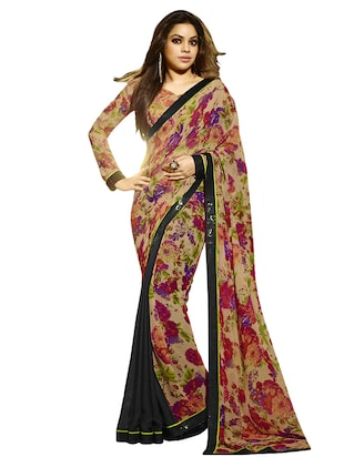 Beige floral printed georgette and crepe chiffon saree