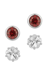 Stud Earrings Combo Adorned With CZ And Red Color Stone - Voylla