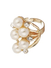 Shiny Gold Tone Statement Ring With CZ And Pearls - Voylla