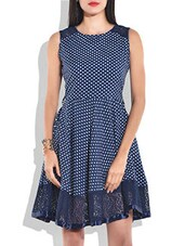 Blue Poly Crepe,Poly Lace Dress - By