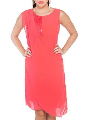 pink Georgette High low dress
