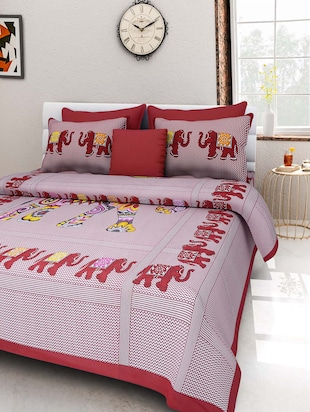 multi color Cotton Printed Double besheet with two pillow covers.