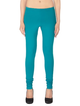 Green Cotton  Solid Leggings