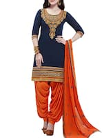 Exclusive Resham Embroidered Blue and orange Patiala semi-stitched Suit -  online shopping for Dress Material