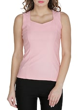 Polyester Pink XS Regular Fit V Neck Tops - By