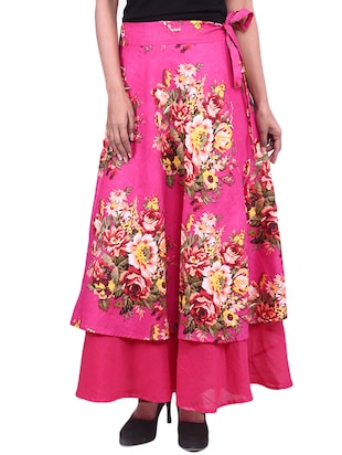 pink floral printed cotton layered maxi skirt