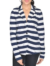 Navy Blue, White Cotton Jacket - By