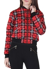 Red Polysatin Checks Printed Jacket - By
