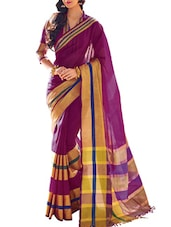 Purple Cotton Silk Saree - By