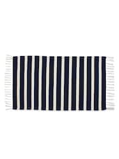 Stripes Navyblue Colour Woven Stripe Cotton Rug - Azaani