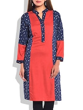 Red & Navy Blue Printed Cotton Kurta - By