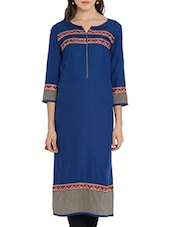 Blue Rayon Embroidery Kurta - By