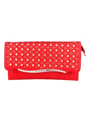 red leatherette clutch