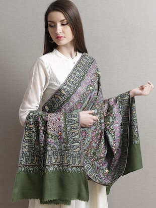 Olive green embroidered pashmina shawl