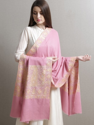 Light pink hand embroidered pashmina shawl