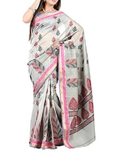 Grey Banarasi Soft Cotton Silk Blend Saree - By