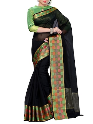black Mercerized  Kanchipuram cotton Saree