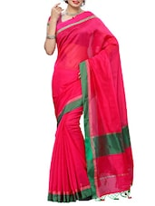 Pink Mimosa Women Kanchipuram Cotton Art Saree With Plain Blouse (Pink ,3142-RZ-1-RANI) Saree - By