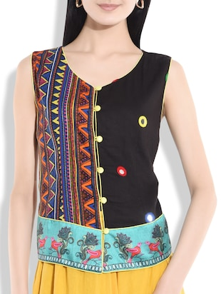 Black mirror work and printed panel waistcoat