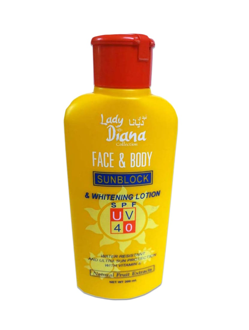 Lady Diana Face And Body Herbal Whitening Lotion With Sunblock, UV, SPF 40 With Natural Extracts - By