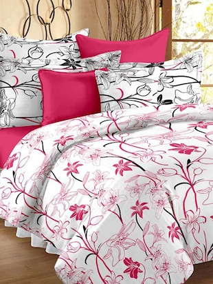 White printed cotton double bedsheet set