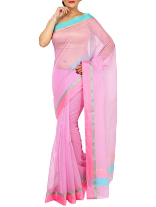 Pink Color Cotton Silk Saree