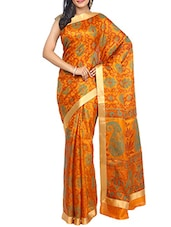 Yellow Color Tussar Silk Printed Saree -  online shopping for Sarees