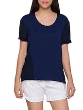 Blue Color Block Casual Top - Globus