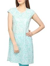 Light Green Striped Short Sleeves Cotton Kurti - Globus