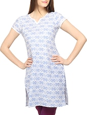 Blue Printed Short Sleeves Cotton Kurti - Globus