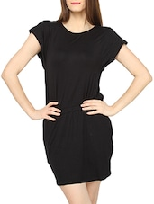 Black Cap Sleeves With Epaulette Short Dress - Globus