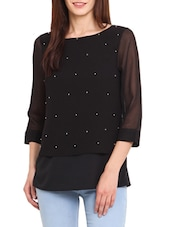 Black Poly Crepe , Poly Georgette Top - By