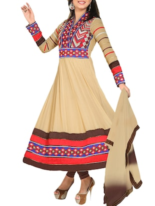 beige Bemberg Georgette semi stitched Suit