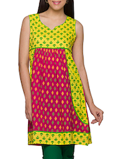 Fuchsia  & Yellow Printed Sleeveless Cotton Kurti - Globus