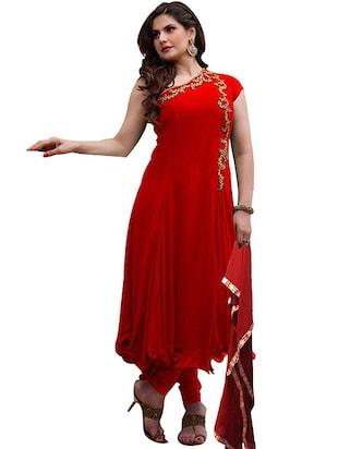red Georgette semi stitched Suit