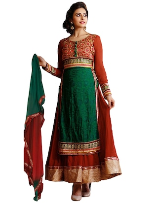 green & red viscose semi stitched suit