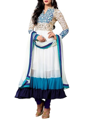 white & blue Georgette semi stitched Suit