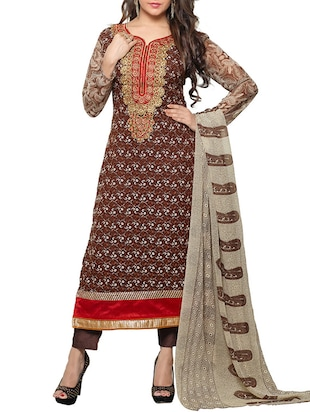 brown georgette semi stitched suit