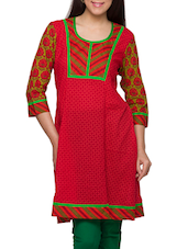Red Printed Round Neck Three Quarter Sleeves Kurti - Globus