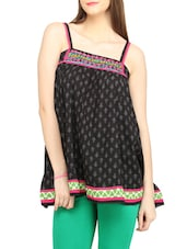 Black Printed & Embroidered Camisole Top - Globus