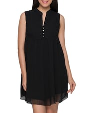 Black Mandarin Collar Sleeveless Georgette Short Dress - Globus