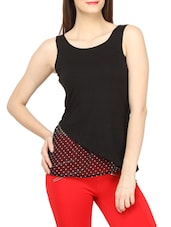 Stylish Black Polka Dots Sleeveless Top - Globus