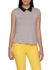 Grey Polyester  Shirt Collar Sleeveless Top - Globus