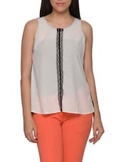 White & Black Color Block Asymmetric Top - Globus