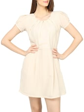 Beige Polyester Short Dress - Globus