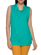 Green Viscose Spandex Plain Sleeveless Top - Globus