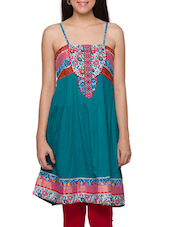 Multicolored Cotton Camisole Neck Embroidered Kurti - Globus